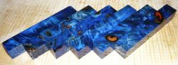 Poplar Burl Pen Blank Blue Stabilized 120 x 20 x 20 mm