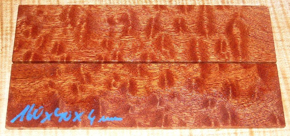 Mahagoni pommelé Rasierer-Griffschalen 140 x 40 x 4 mm