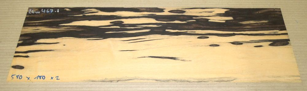 Ebw467 Black and White Ebony Saw Cut Veneer 580 x 180 x 2 mm, bookmatched with Ebw468