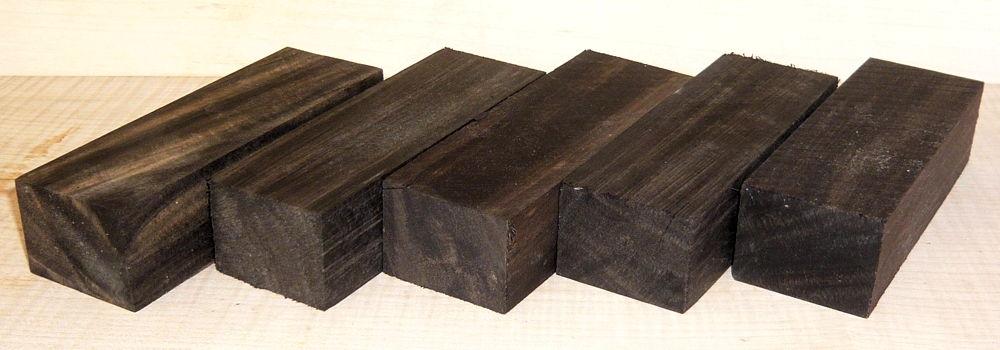 Ebony Knife Blank B-graded Set of 5 pcs 120 x 40 x 30 mm