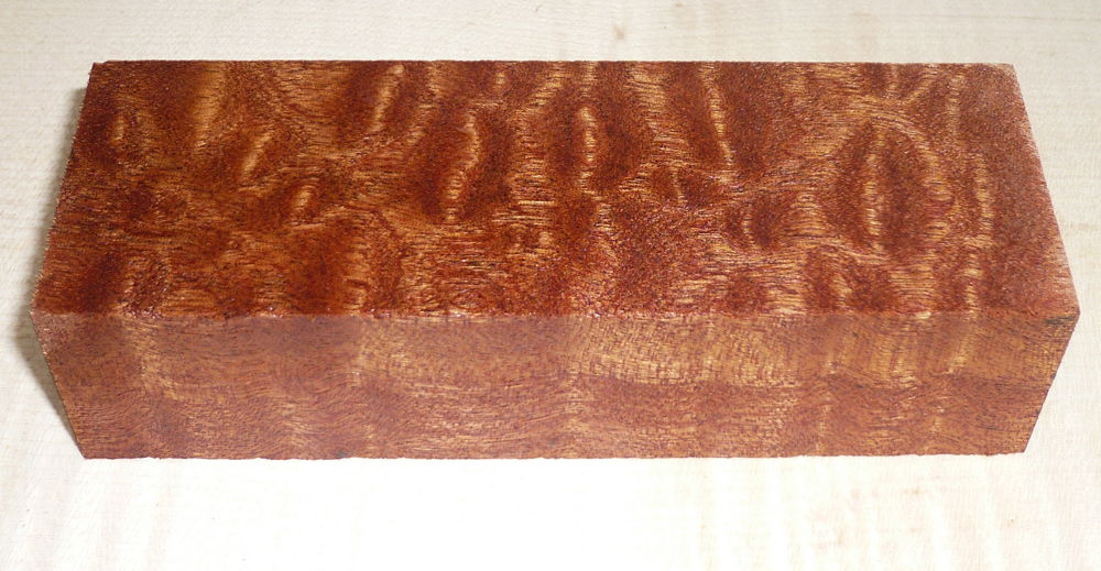 Mahogany Pommelé Knife Blank 120 x 40 x 30 mm