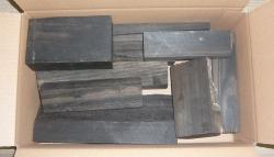 Eb009 Ebony assortment sections, remnants, scraps ca. 100 - 300 mm long